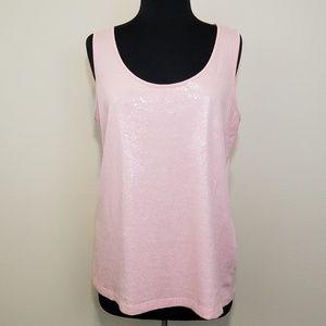 Dana Buchman, Pastel Pink Sequin Tank Top, Large